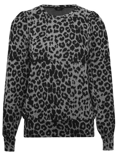 Animal print puff sleeve sweat top