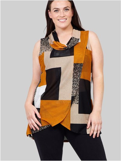 Izabel Curve patchwork cross front vest