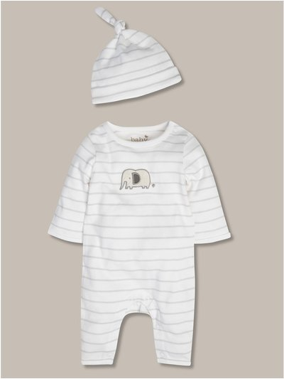 Elephant sleepsuit and hat (tiny baby-18mths)