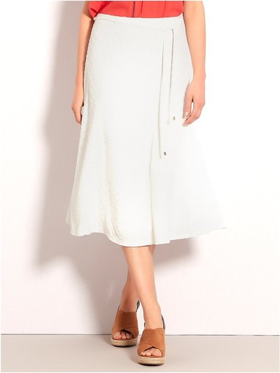 Textured fit and flare midi skirt