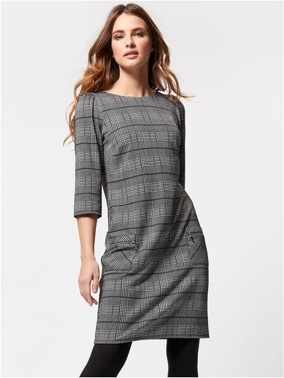 Petite checked shift dress