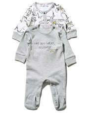 Minoti animal sleepsuit two pack