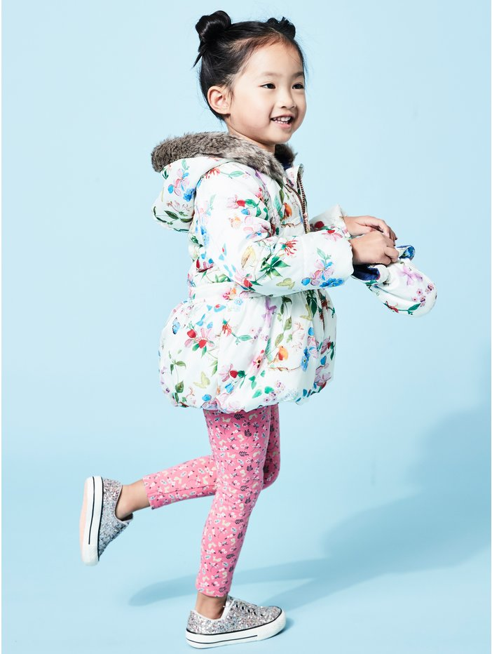 619fea277b18 Floral Coat With Mittens