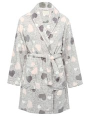 Heart fleece dressing gown