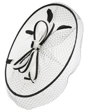 Bow and net feather disc fascinator