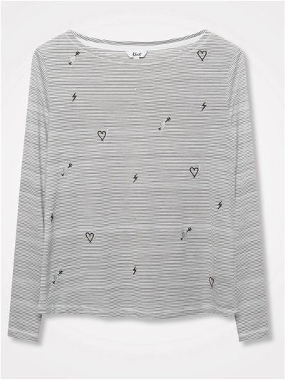 Khost Clothing heart embroidered stripe top
