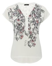 Petite lace panel floral print top