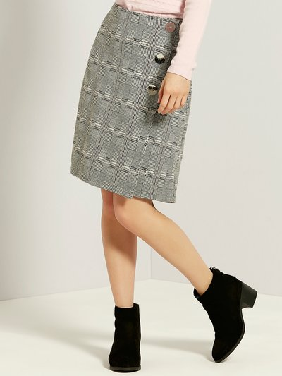 Petite check button skirt