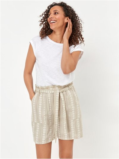 Dobby striped paperbag waist shorts