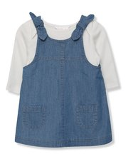 Denim pinafore dress and bodysuit set (Newborn-18mths)