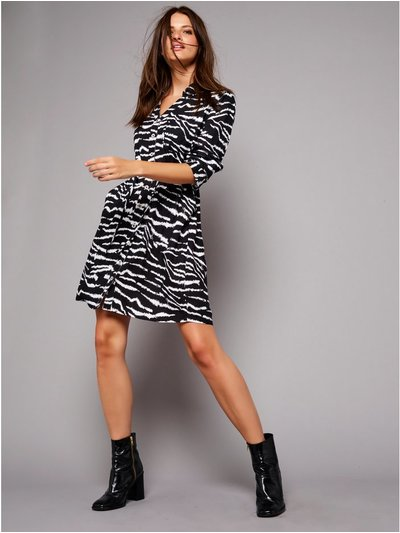 Petite zebra print shirt dress