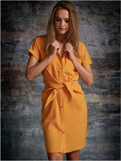 Sonder Studio knot front shirt dress
