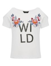 Teens' cold shoulder wild slogan t-shirt