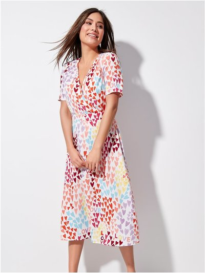 Khost Clothing rainbow heart wrap midi dress