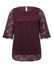 Plus sequin lace flute sleeve top