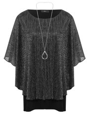 Plus shimmer batwing necklace top