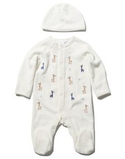 Velour giraffe sleepsuit and hat set