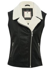 Leather look borg collar gilet