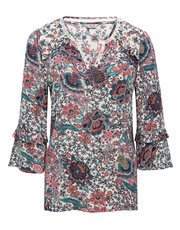 Floral paisley print flare sleeve top