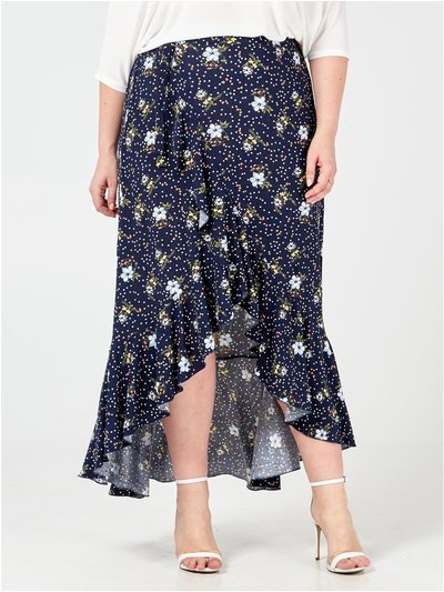 Blue Vanilla Curve frill flower dots skirt