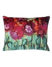Jewel tone floral print cushion