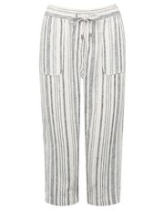 Petite striped cropped linen trousers