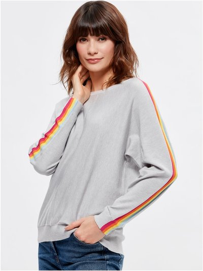 Rainbow stripe sleeve jumper