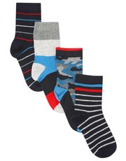 Stripe camo socks four pack