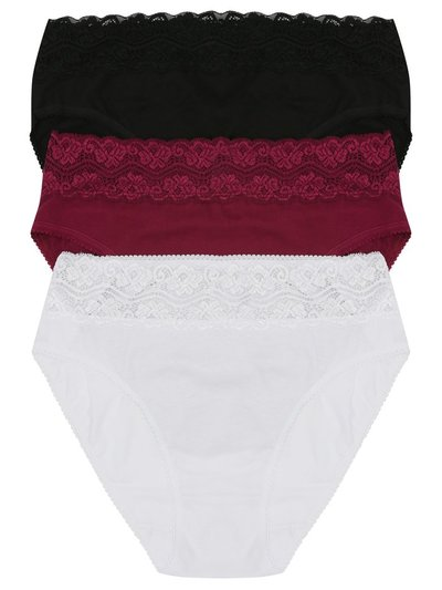 Lace trim high leg briefs multipack