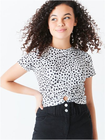 Teen spot print cut out t-shirt