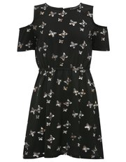 Teens' butterfly print cold shoulder dress