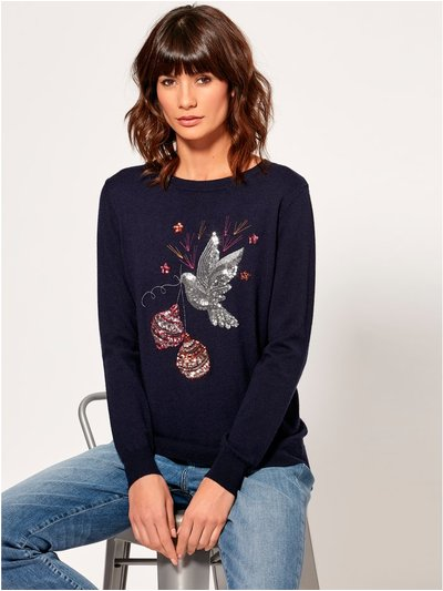 Sequin dove Christmas jumper