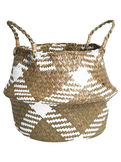 Checked woven basket