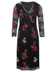 Floral embroidered sequin shift dress