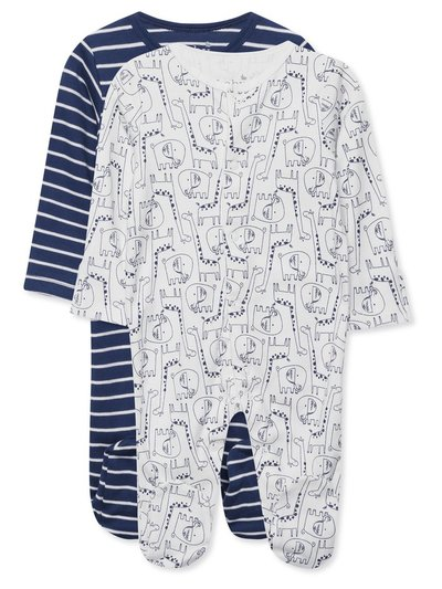Animal and stripe sleepsuits two pack (Tinybaby-18mths)