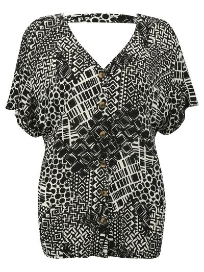 Plus abstract print button front top