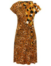 Leopard print tie front dress