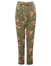 Floral print tie waist trousers