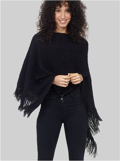 Izabel chevron knitted poncho