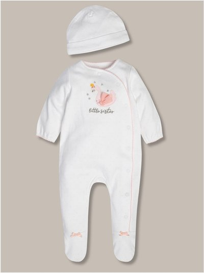 Little sister sleepsuit and hat set (tiny baby-18mths)