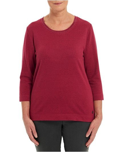 TIGI berry embellished neck top
