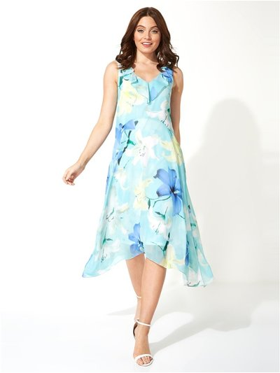 Roman Originals floral chiffon frill midi dress