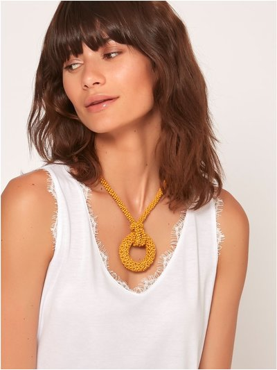 Muse knot and hoop beaded necklace