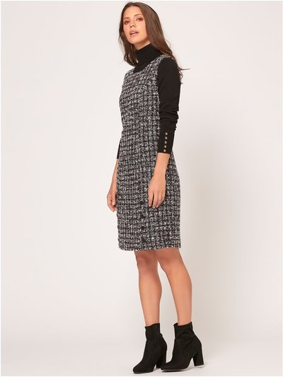 Boucle pinafore dress