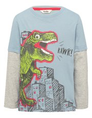 Dinosaur print mock layer sleeve t-shirt