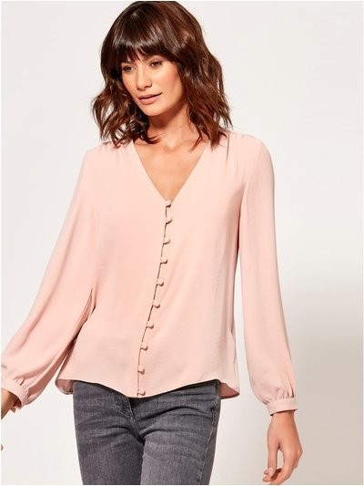 Button front v neck top