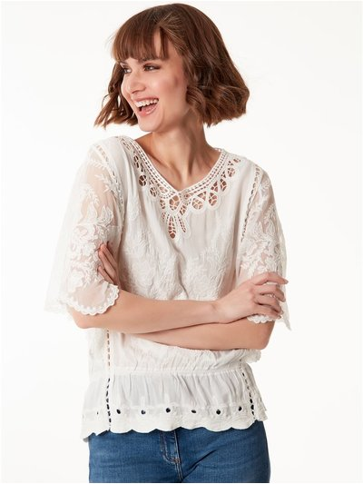 Crochet lace mesh top