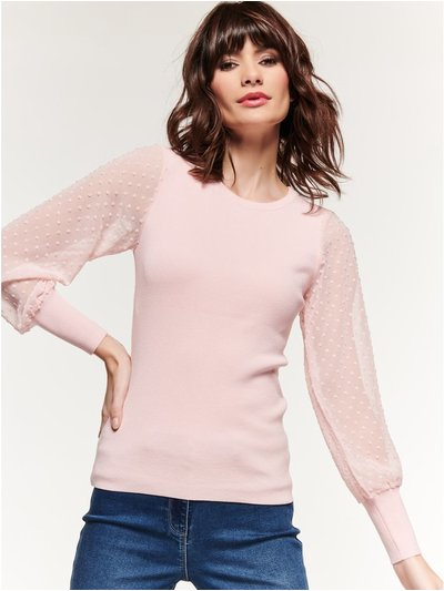 Dobby sheer sleeve jumper