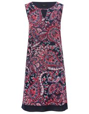 Paisley print chiffon trim tunic dress
