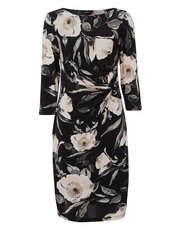 Roman Originals rose print ruched waist dress